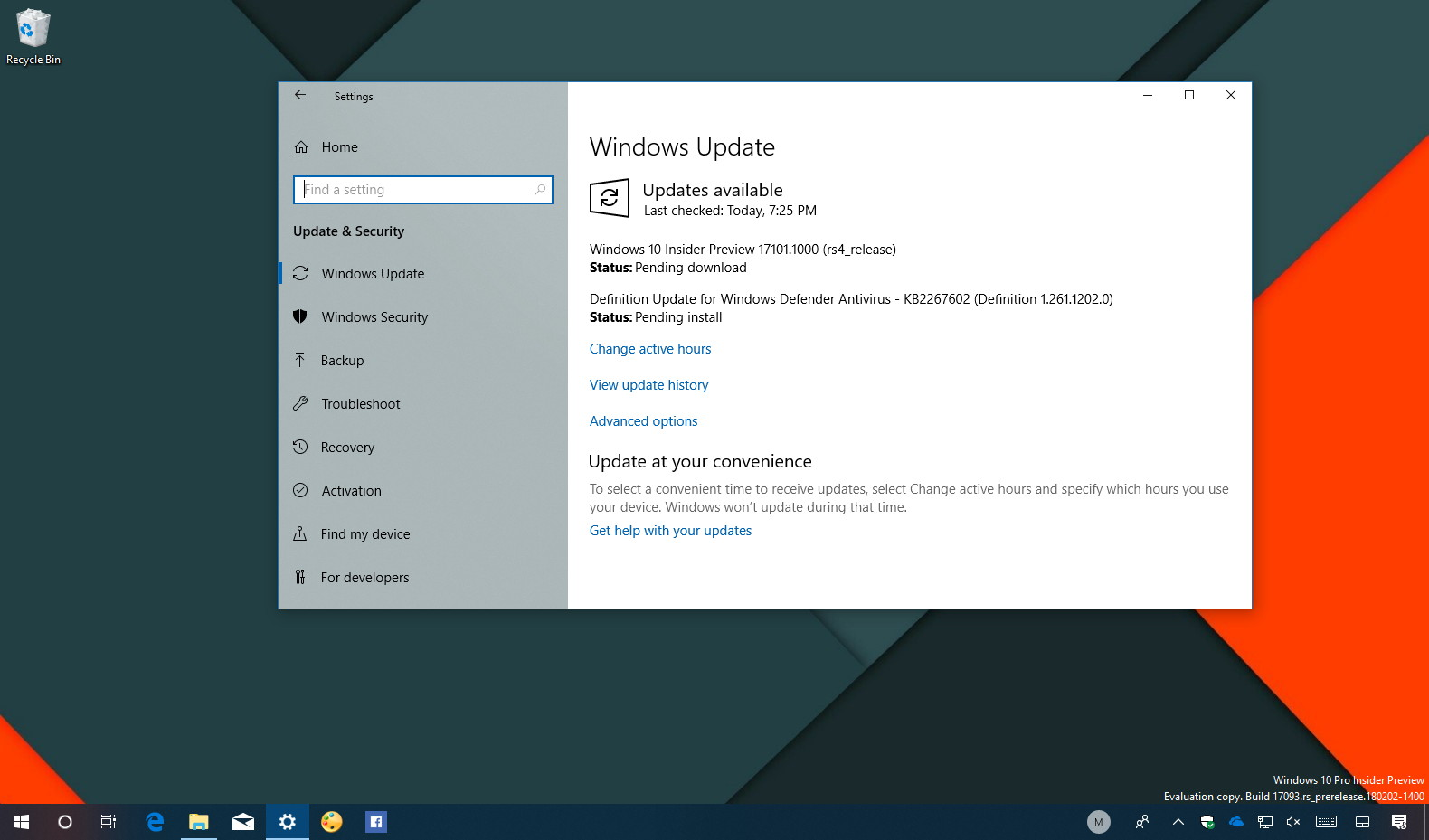 Windows 10 build 17101