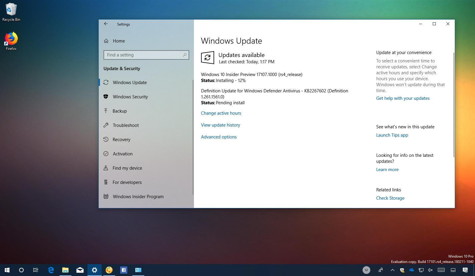 Windows 10 build 17107