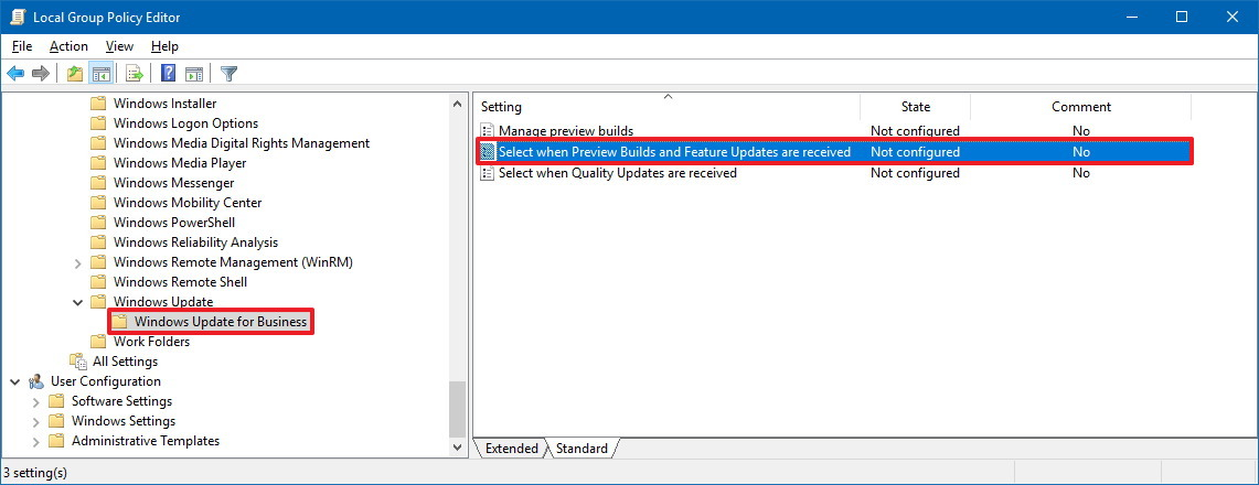 Windows Update for Business in Group Policy
