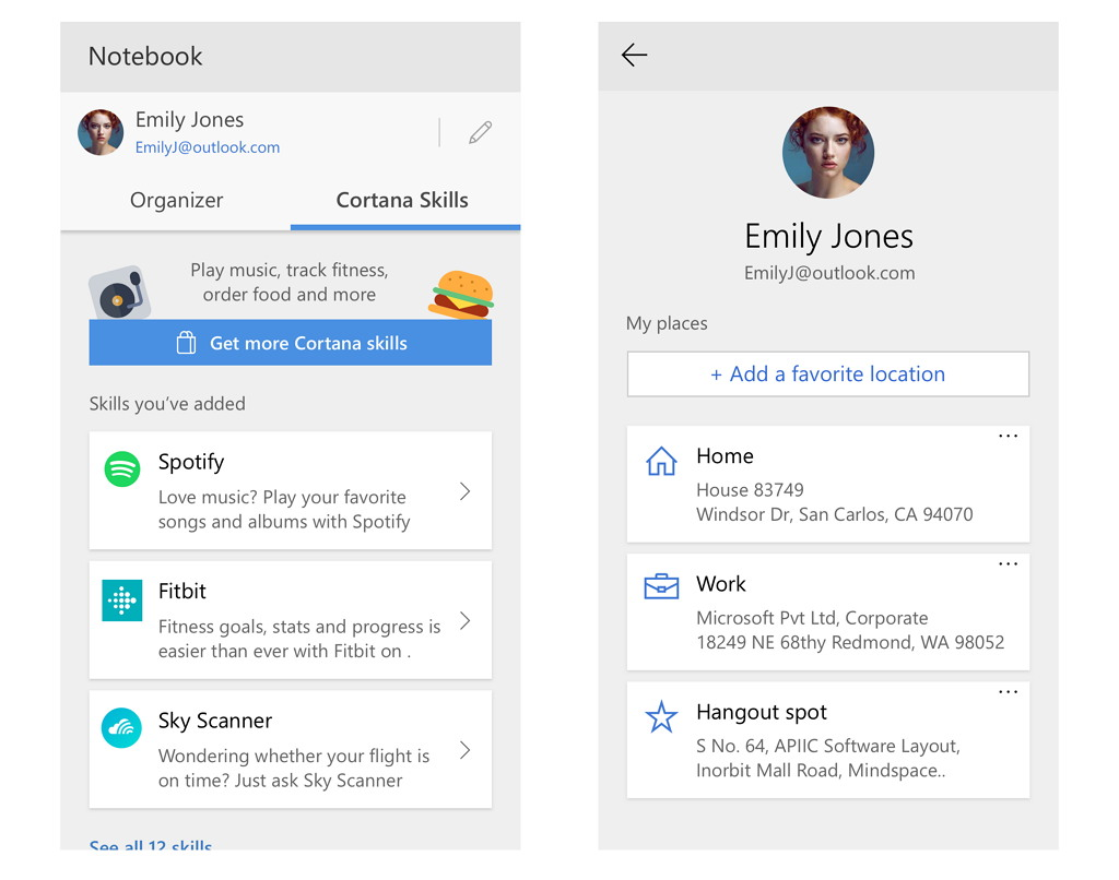 Cortana profile UI on build 17127