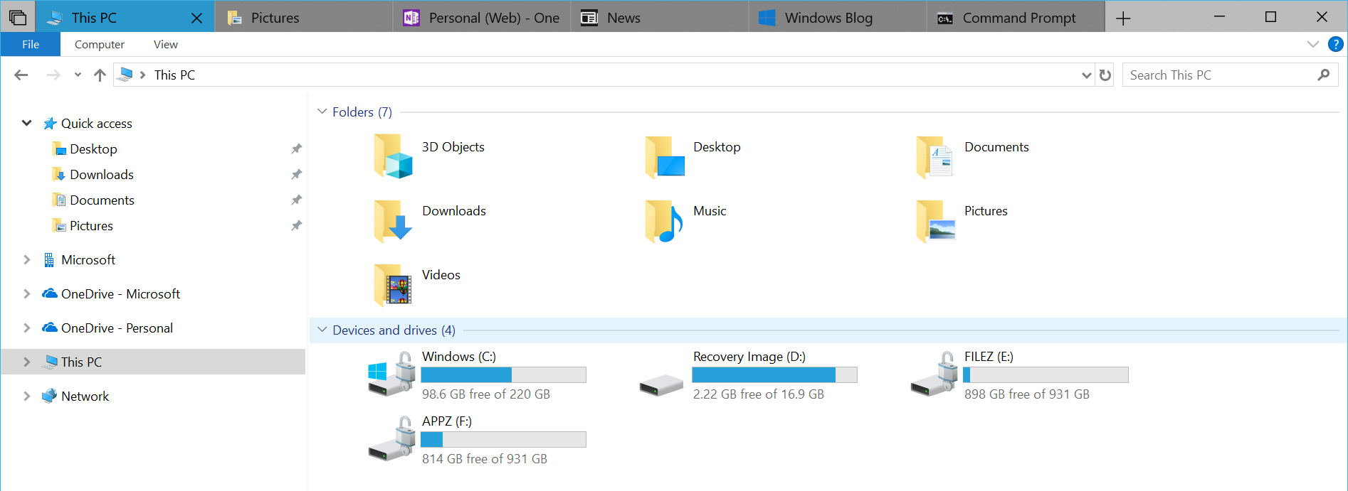 File Explorer with tabs on Windows 10 version 1809