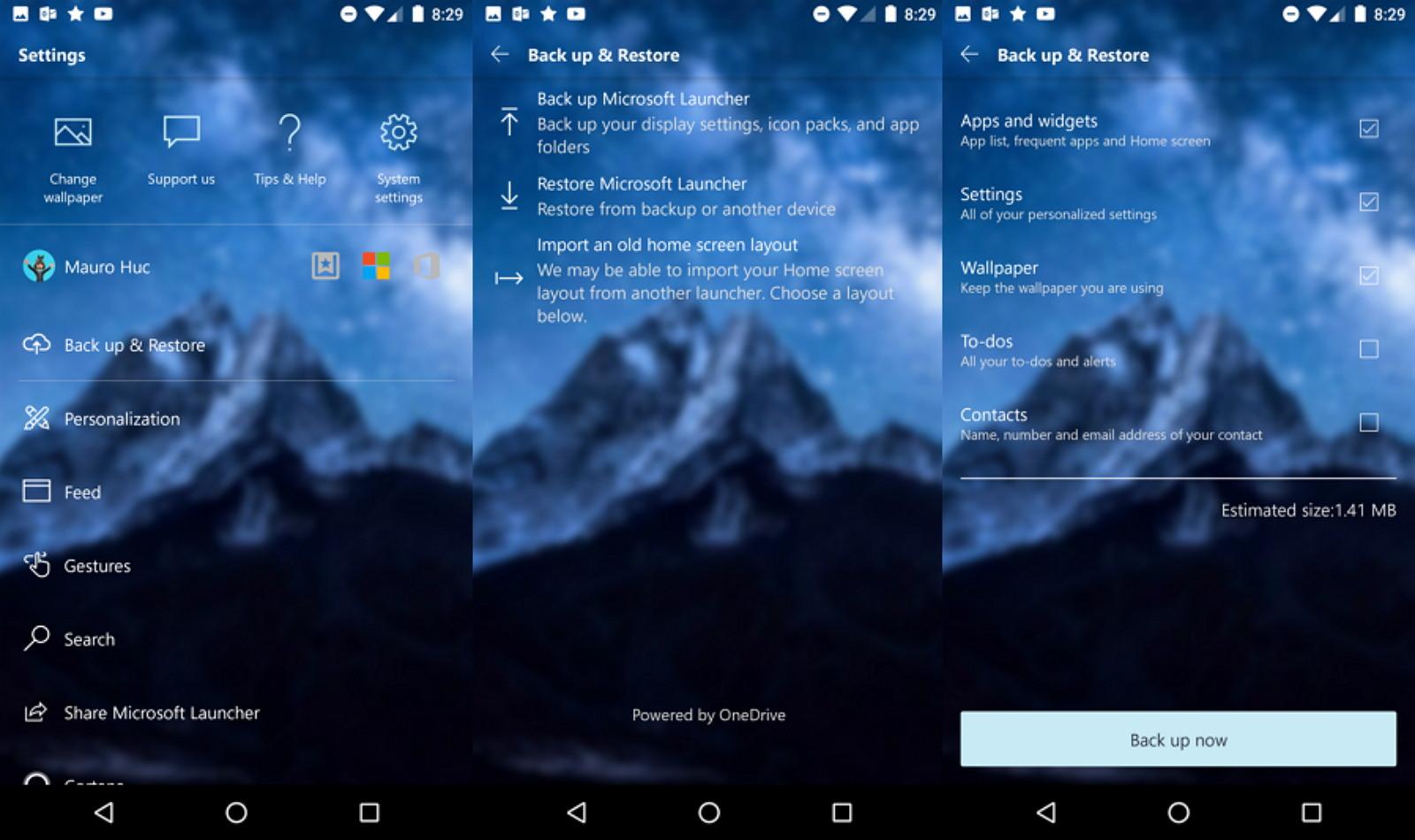 Microsoft Launcher settings backup