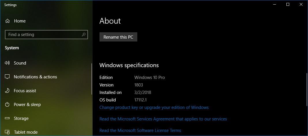 Windows 10 version 1803 information