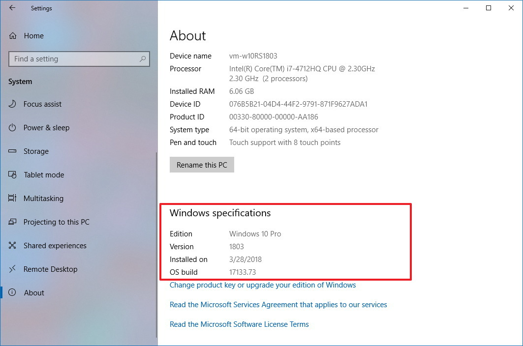 Windows 10 version 1803 About settings page