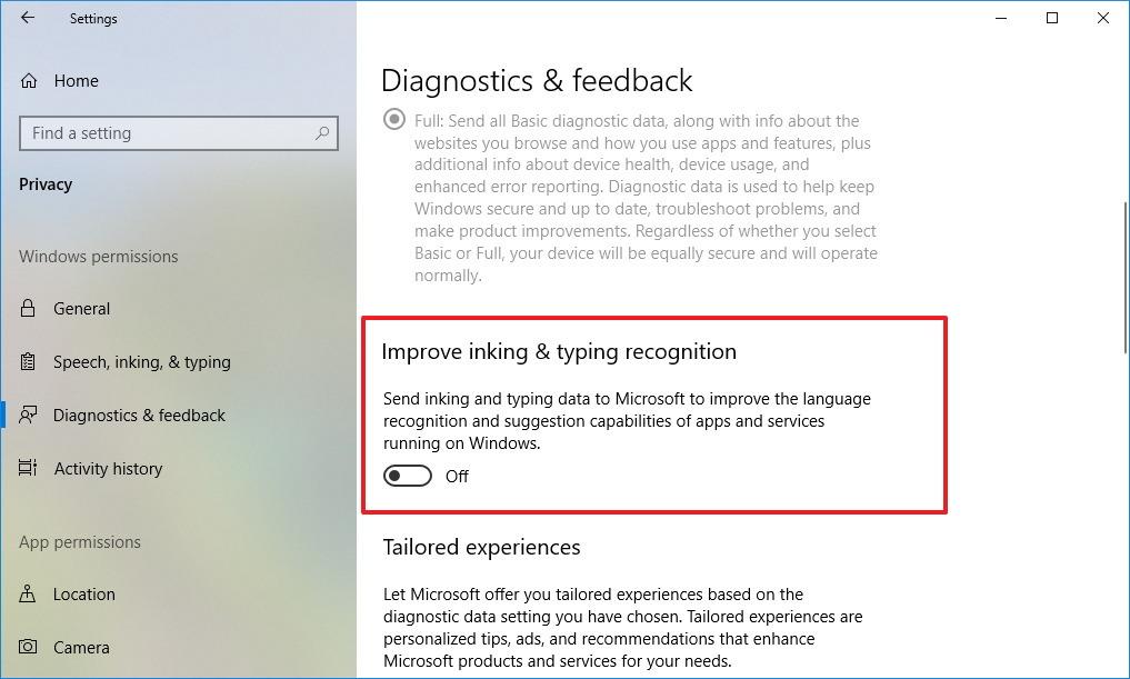 Diagnostic & feedback settings