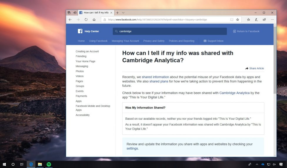 Facebook page to check if data was shared with Cambridge Analytica