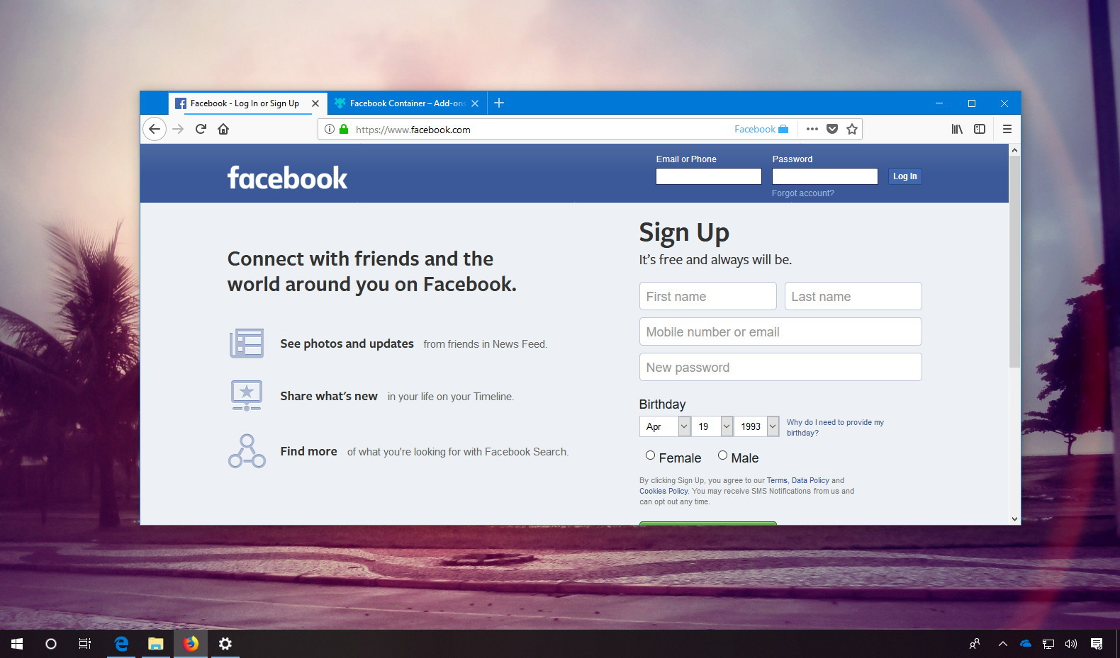 Facebook Container extension for Firefox