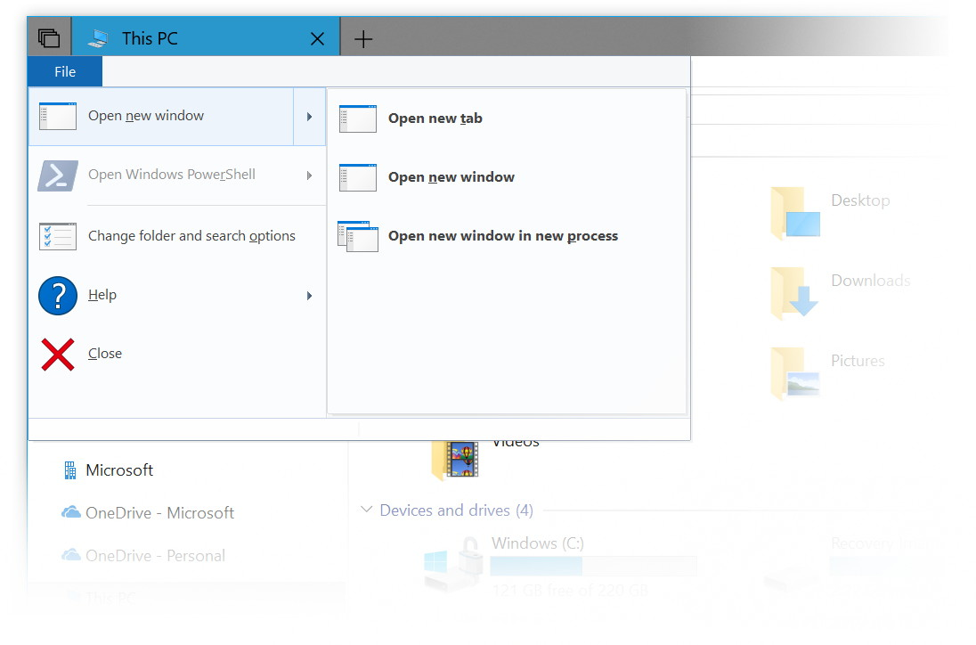 File Explorer menu new tab option