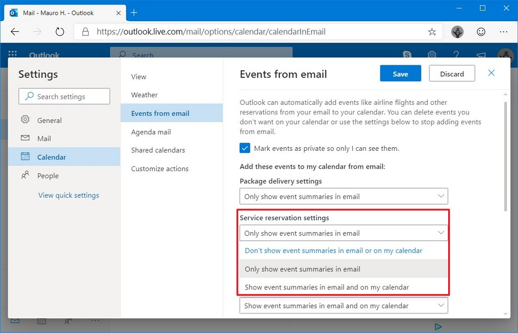 Events from emails Outlook settings