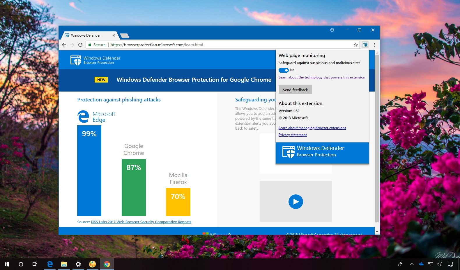 Windows Defender Chrome extension