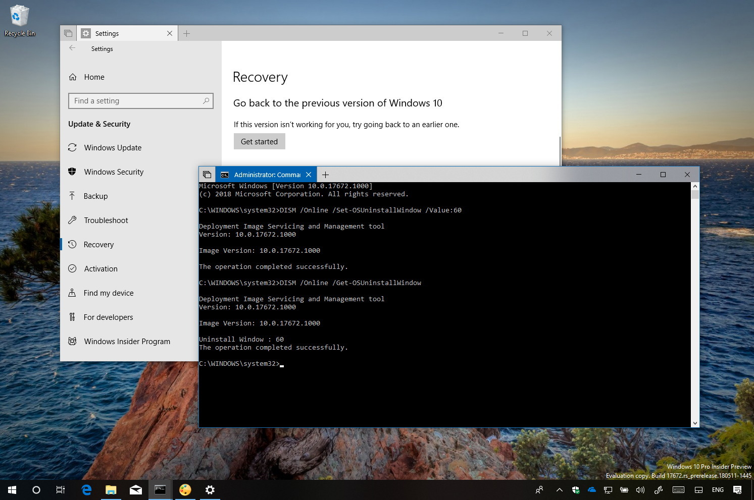 How to extend time to uninstall a Windows 10 upgrade