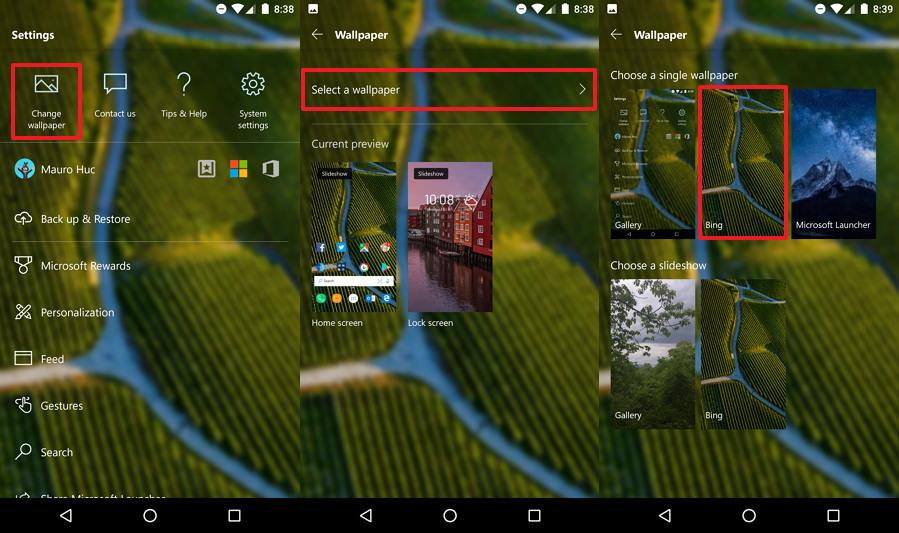 Microsoft Launcher Lock screen with custom wallpaper option
