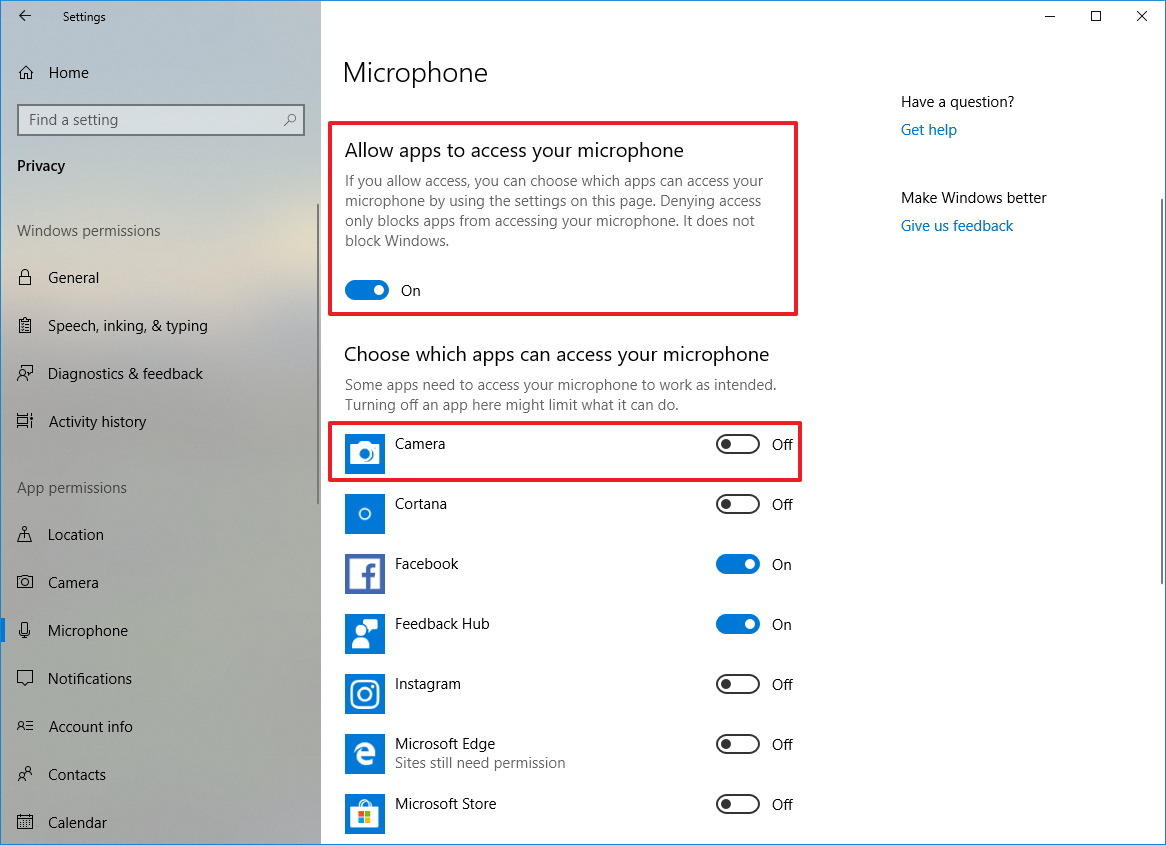 Microphone access settings on Windows 10