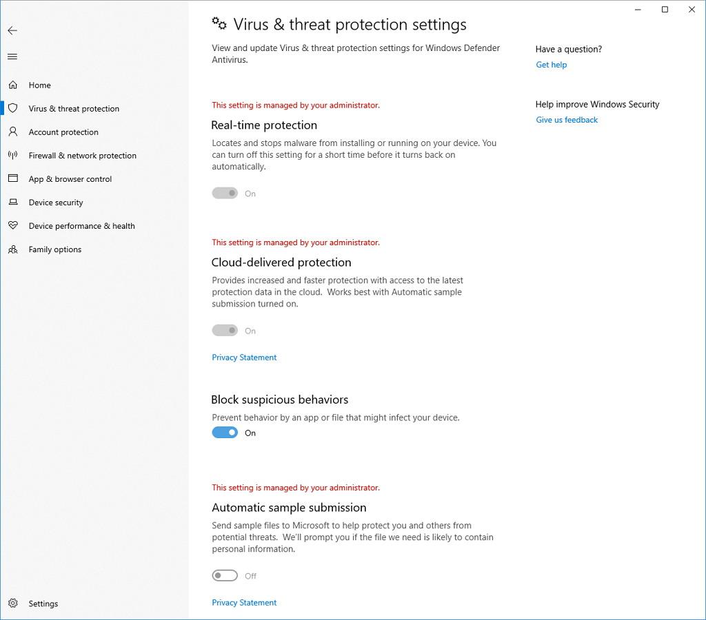 Windows Defender Block suspicious behavior feature