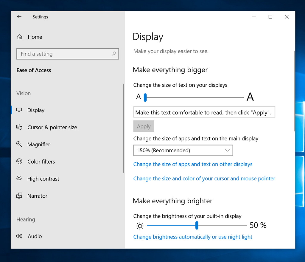 Ease of Access new increase font size settings