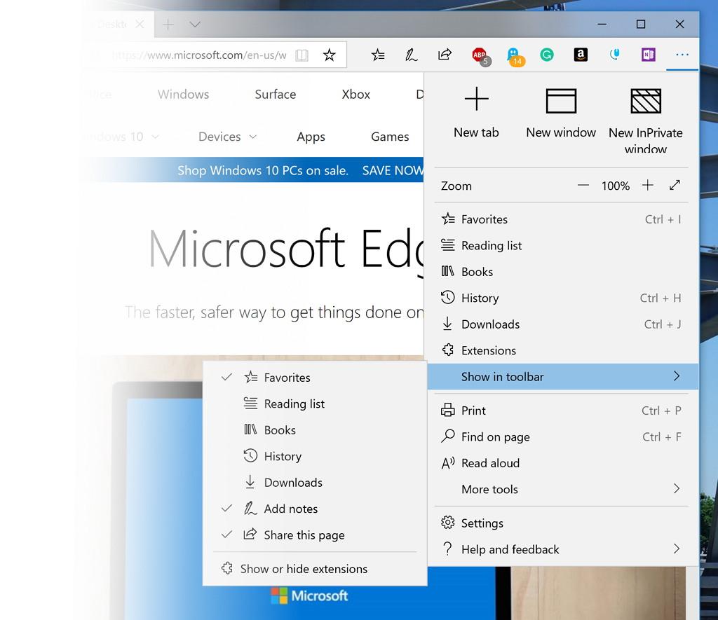 Microsoft Edge with new settings menu