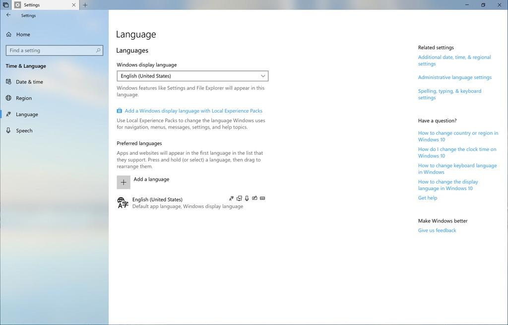 Language settings on Windows 10 build 17686