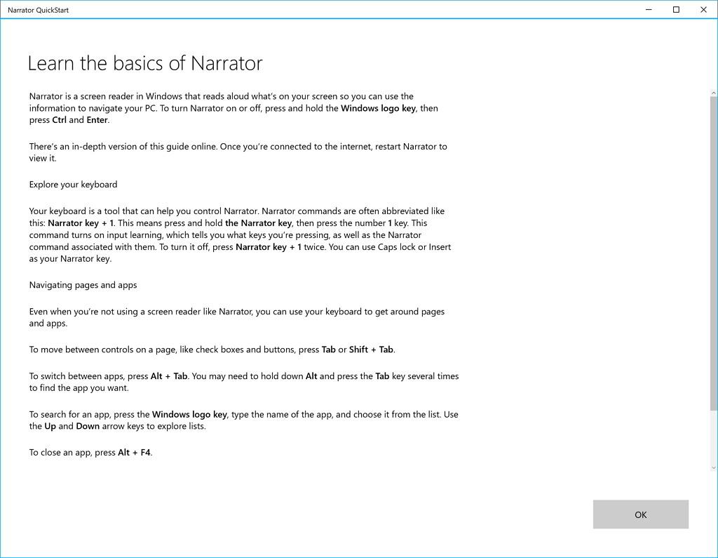 Windows 10's Narrator quick start experience