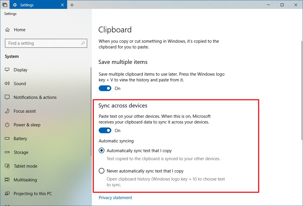 Windows 10 Clipboard sync settings