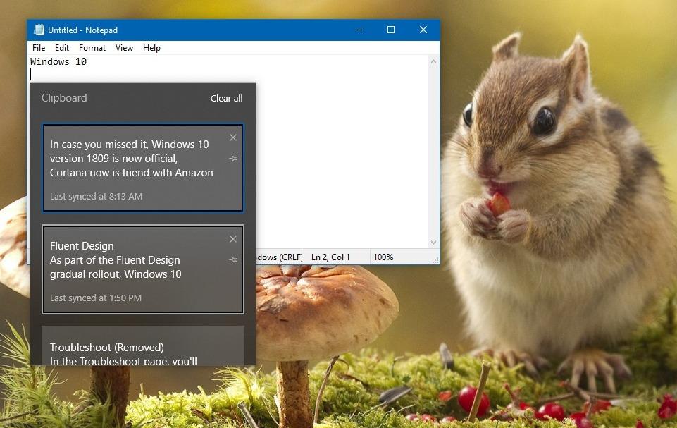 Clipboard experience on Windows 10 version 1809