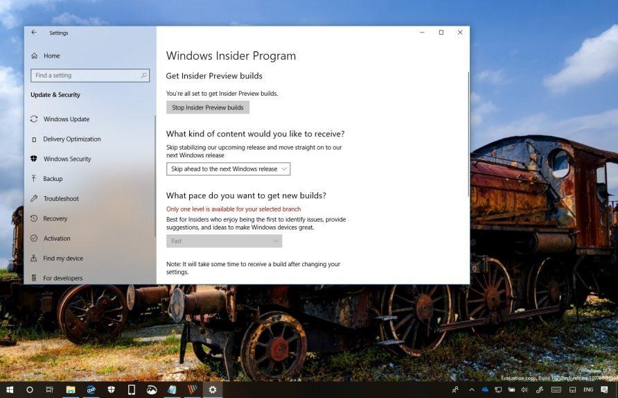 Windows 10 Skip Ahead option