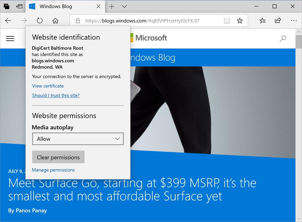 Microsoft Edge website autoplay settings