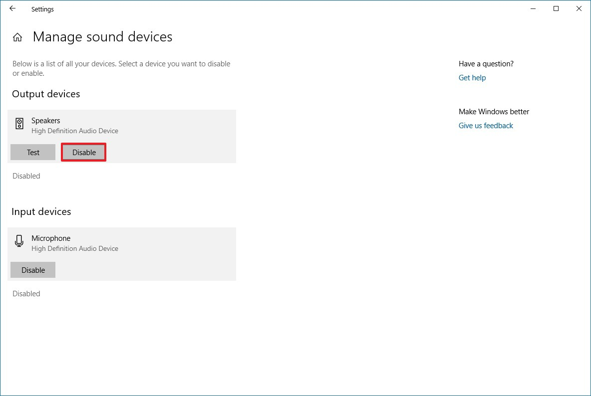 Disable speakers option on Windows 10