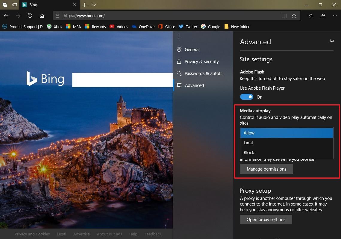 Microsoft Edge Media autoplay settings on Windows 10 Redstone 5