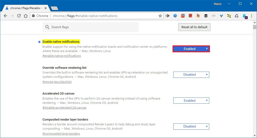 qEnable Chrome notifications on Windows 10