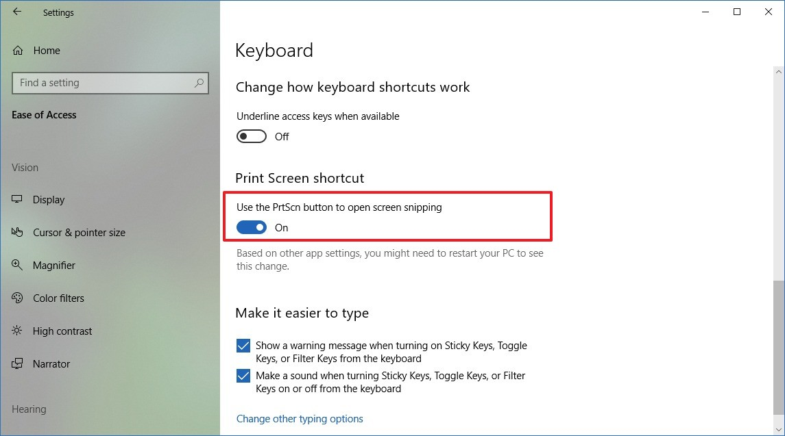 Use Print Screen button to open Screen Sketch snipping tools