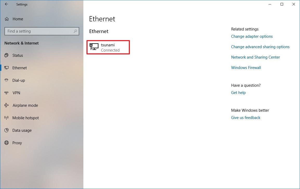 Windows 10 Ethernet settings