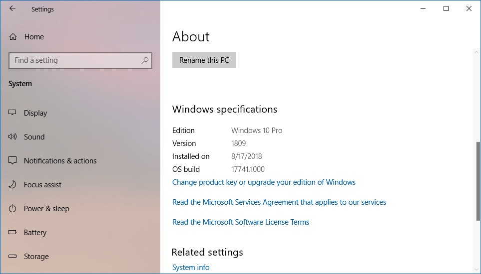 Windows 10 About settings deplaying version 1809
