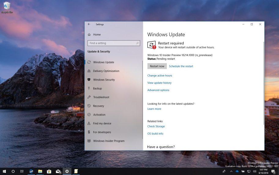 Windows 10 build 18214