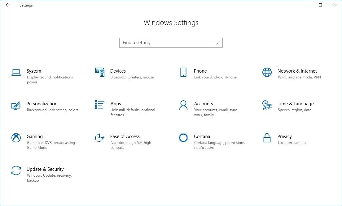 Settings app homepage on Windows 10