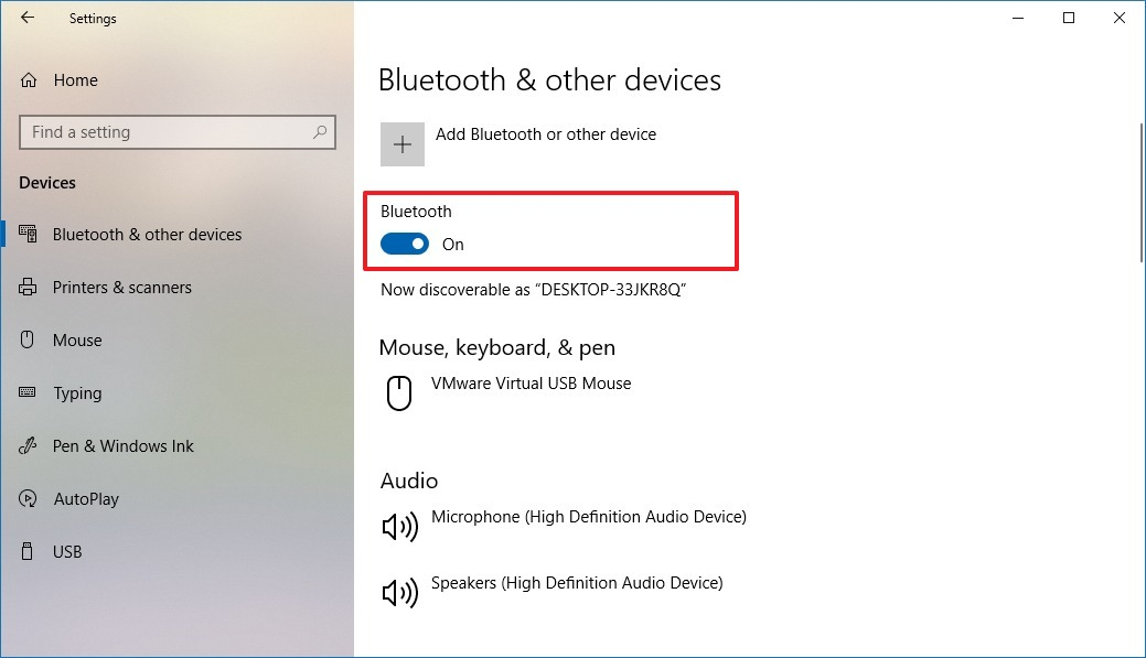 Bluetooth enabled on the Settings app