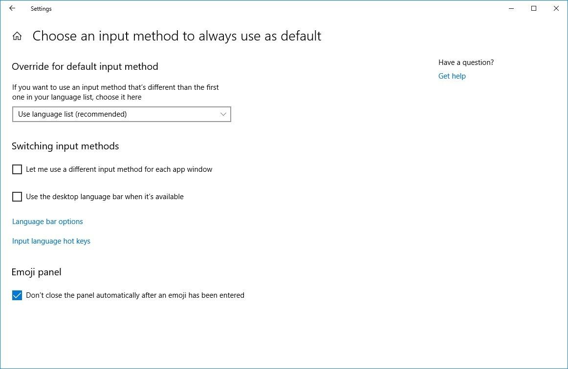 Input method default options