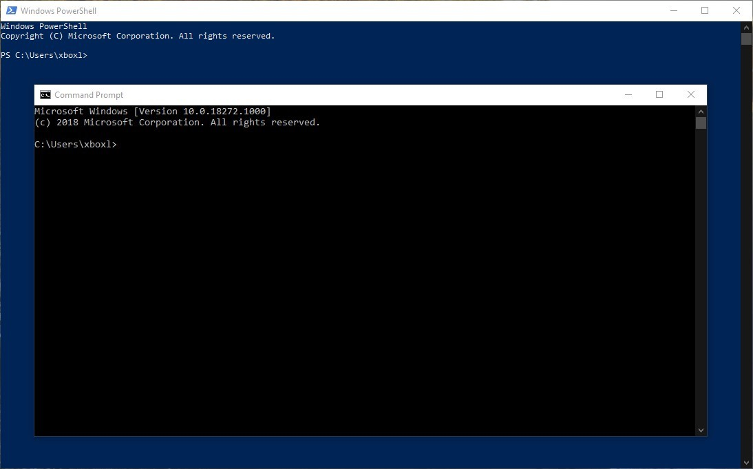 Command Prompt and PowerShell with dark scrollbar