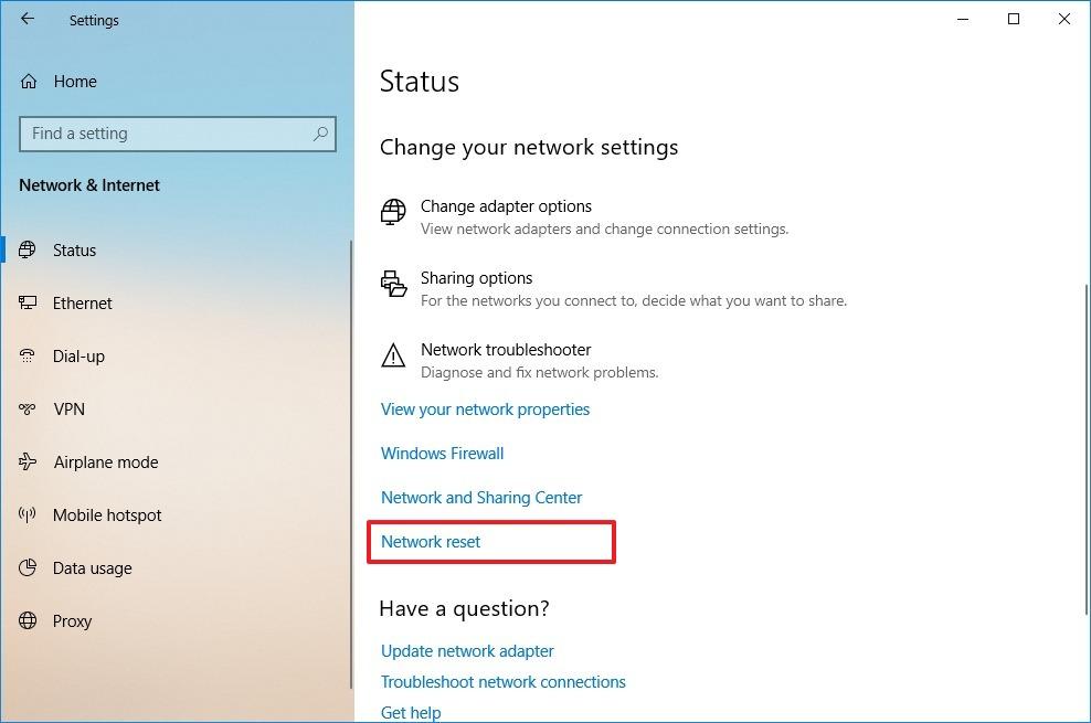 Network reset option on Windows 10 October 2018 Update
