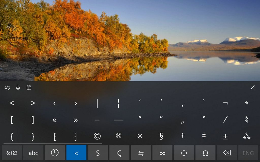 New symbols for touch keyboard on Windows 10
