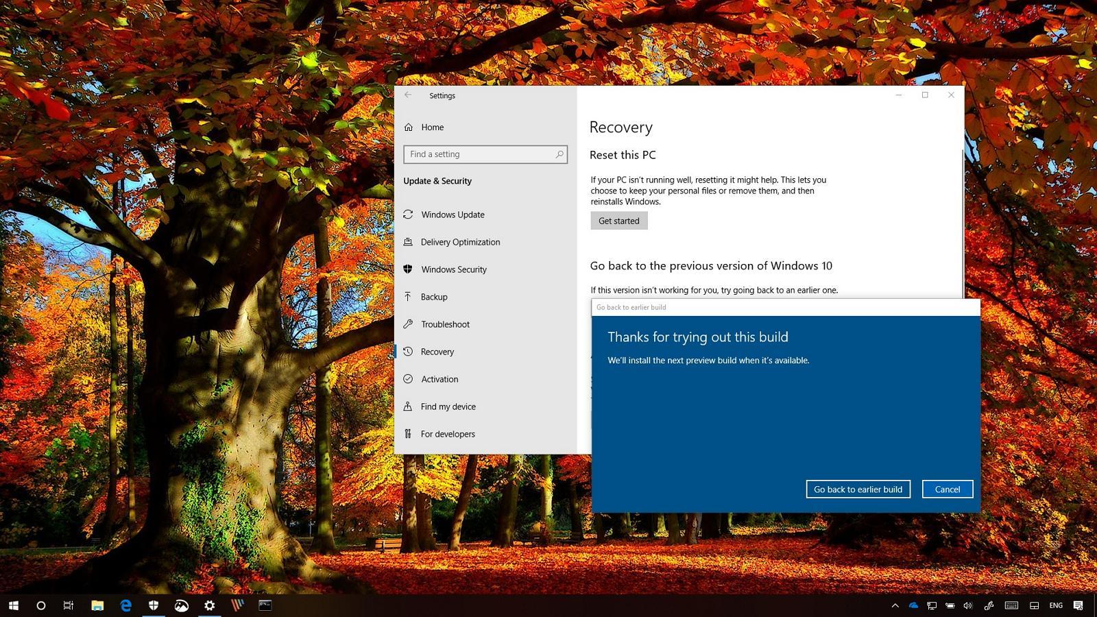Uninstall Windows 10 October 2018 Update (version 1809)