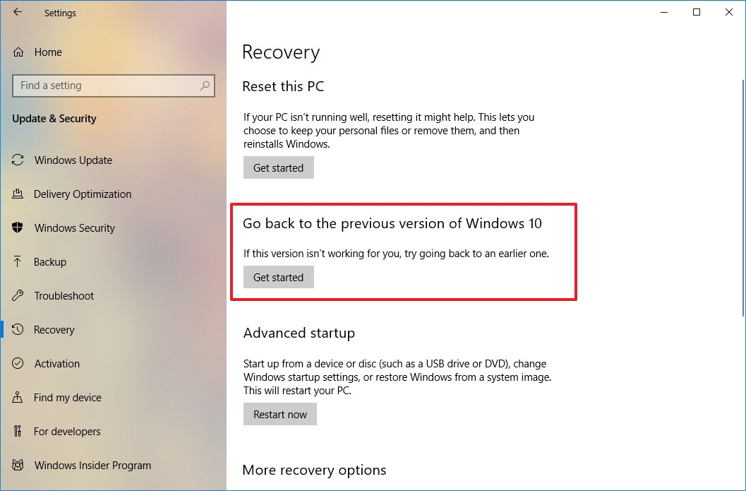 Windows 10 version 1809 recovery options