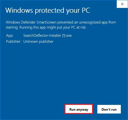 Windows 10 installation warning