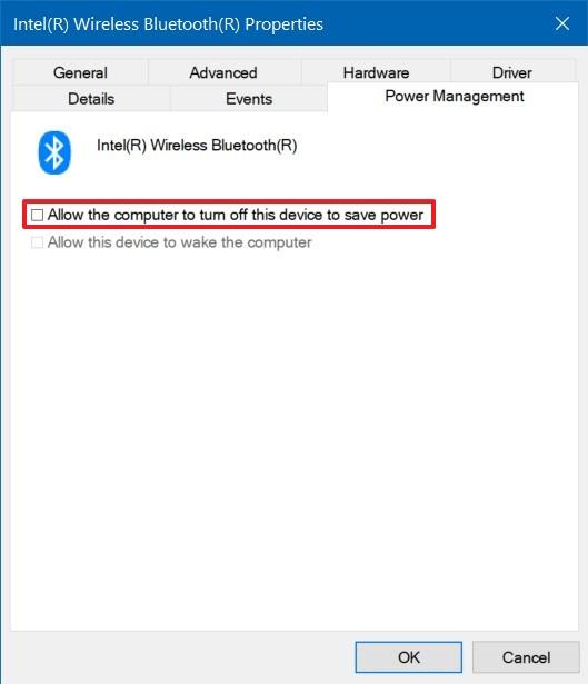 Disable Bluetooth power saver option