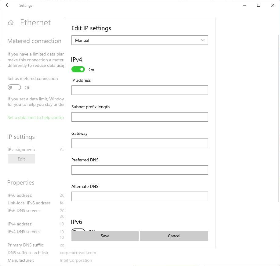 Windows 10 Ethernet TCP/IP settings