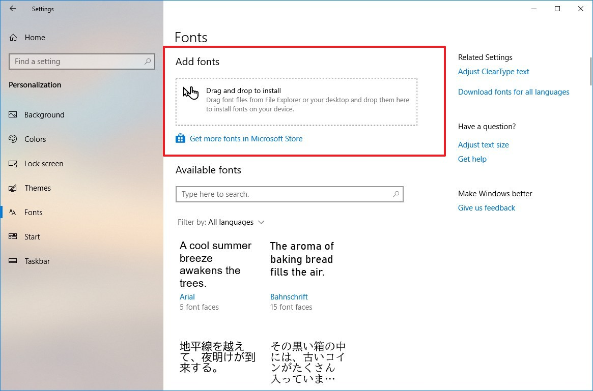 Add Fonts options in the Settings app