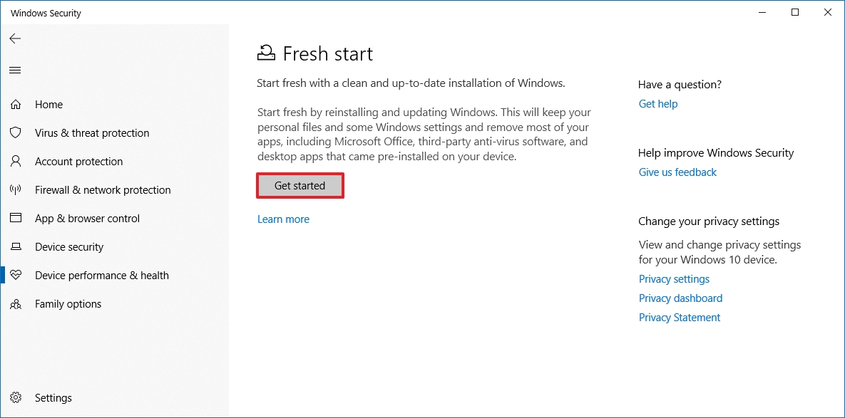 Get started with Fresh Start on Windows 10
