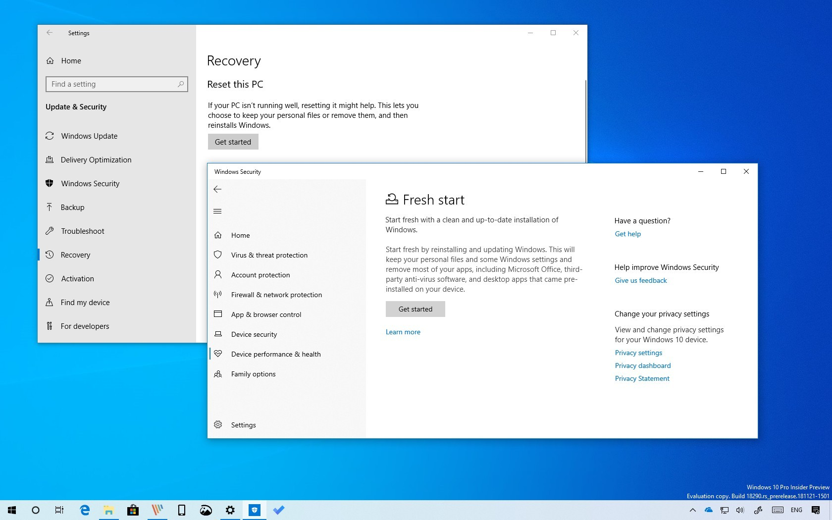Reset this PC vs Fresh Start on Windows 10