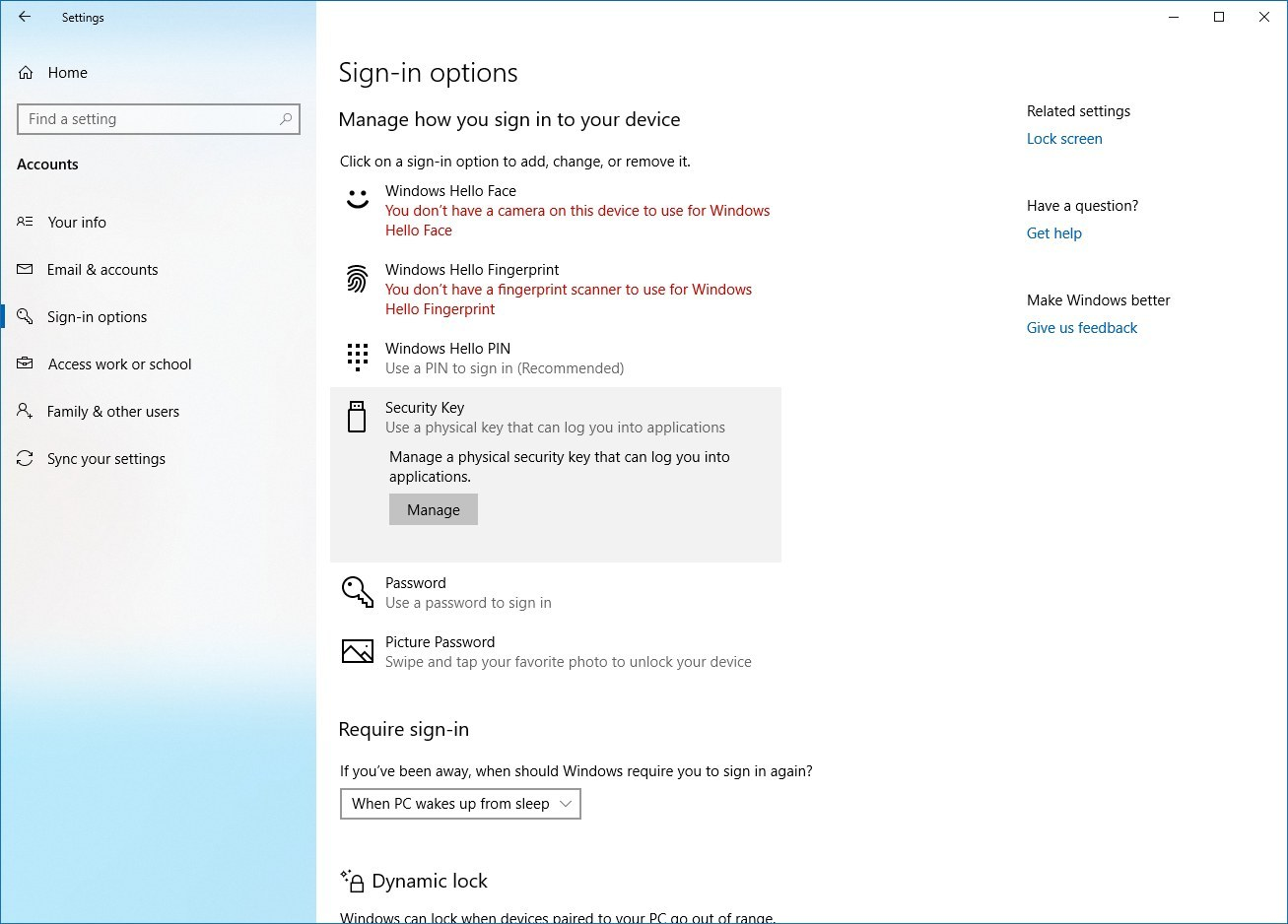 Sign-in options for Windows 10 version 1903