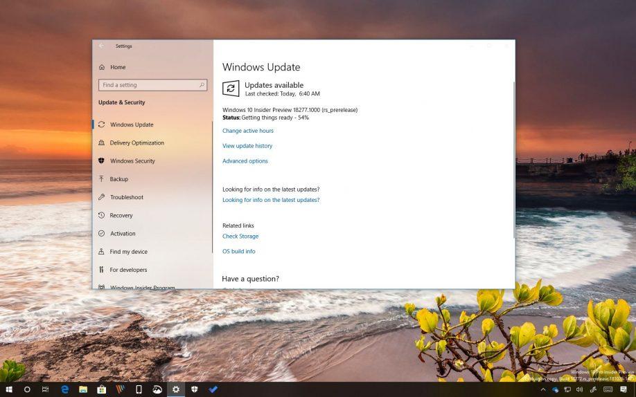 Windows 10 build 18277