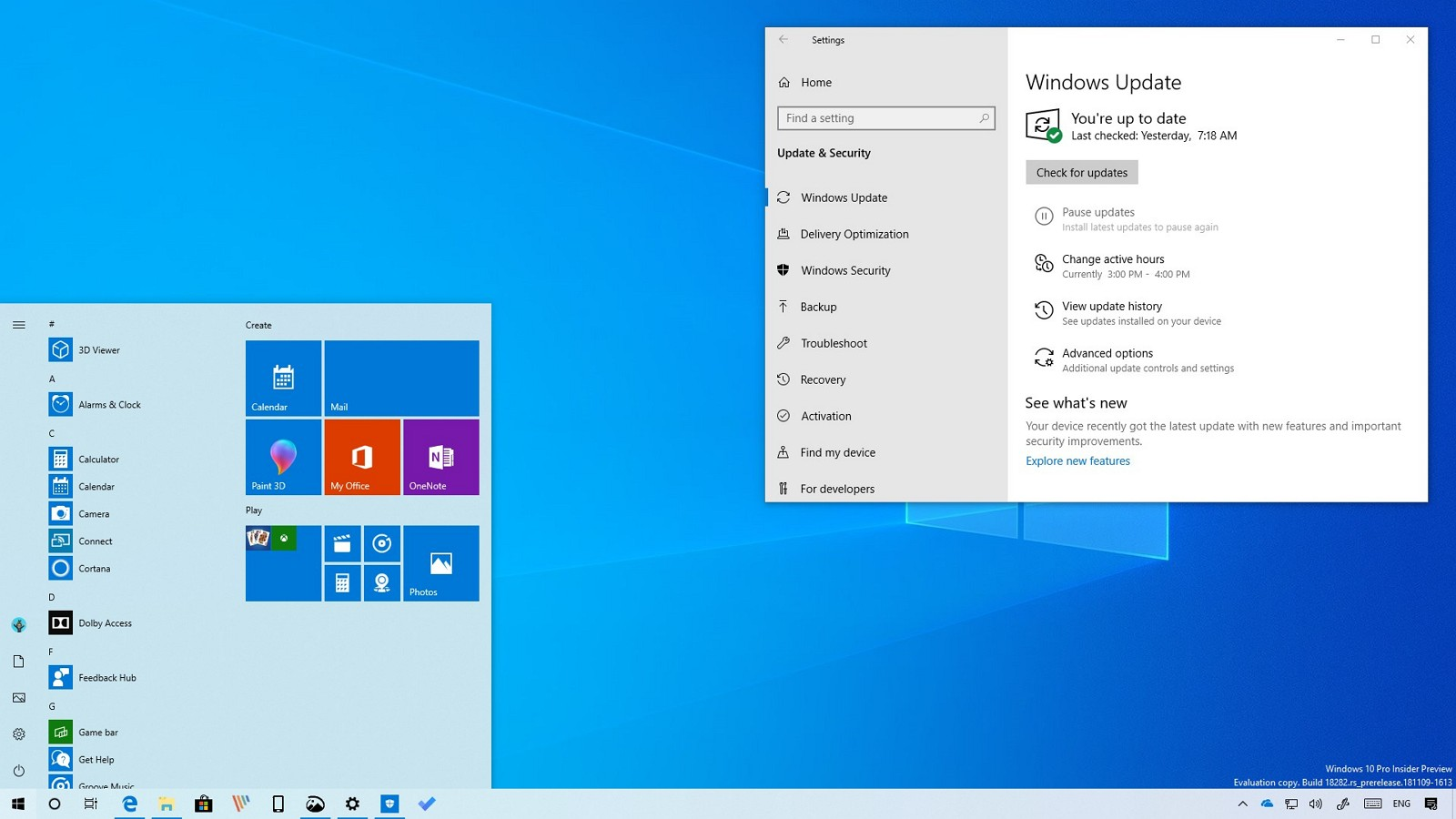 Windows 10 build 18282 with light theme